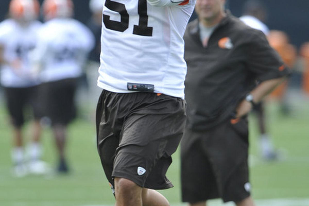 Browns LB Chris Gocong was carted off the field during Saturday morning's practice. Mandatory Credit: David Richard-US PRESSWIRE