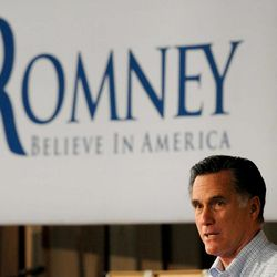 Republican presidential hopeful Mitt Romney campaigns at Wisconsin Building Supply in Howard, Monday, April 2, 2012.