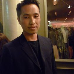 Phillip Lim outside chatting with partygoers