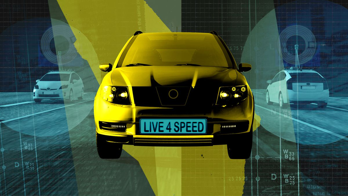 """Illustration of a car with the license plate reading """"LIVE 4 SPEED."""""""