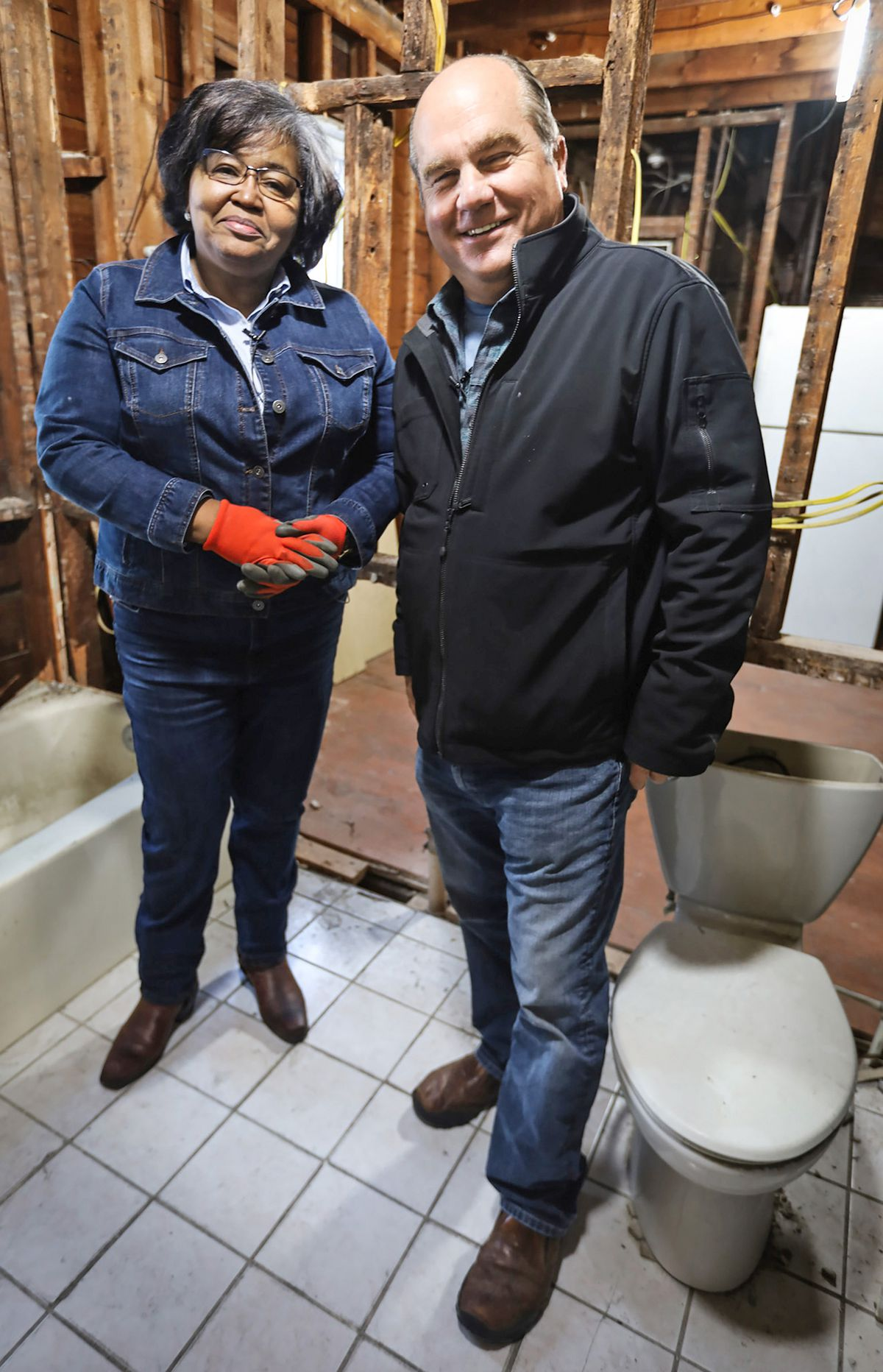 Spring 2021, Dorchester 1st look, Richard Trethewey and plumber Ronnette Taylor, a fire protection specialist