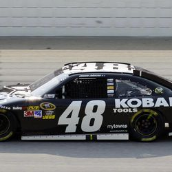 Jimmie Johnson drives during the NASCAR Sprint Cup Series auto race at Chicagoland Speedway in Joliet, Ill., Sunday, Sept. 16, 2012.