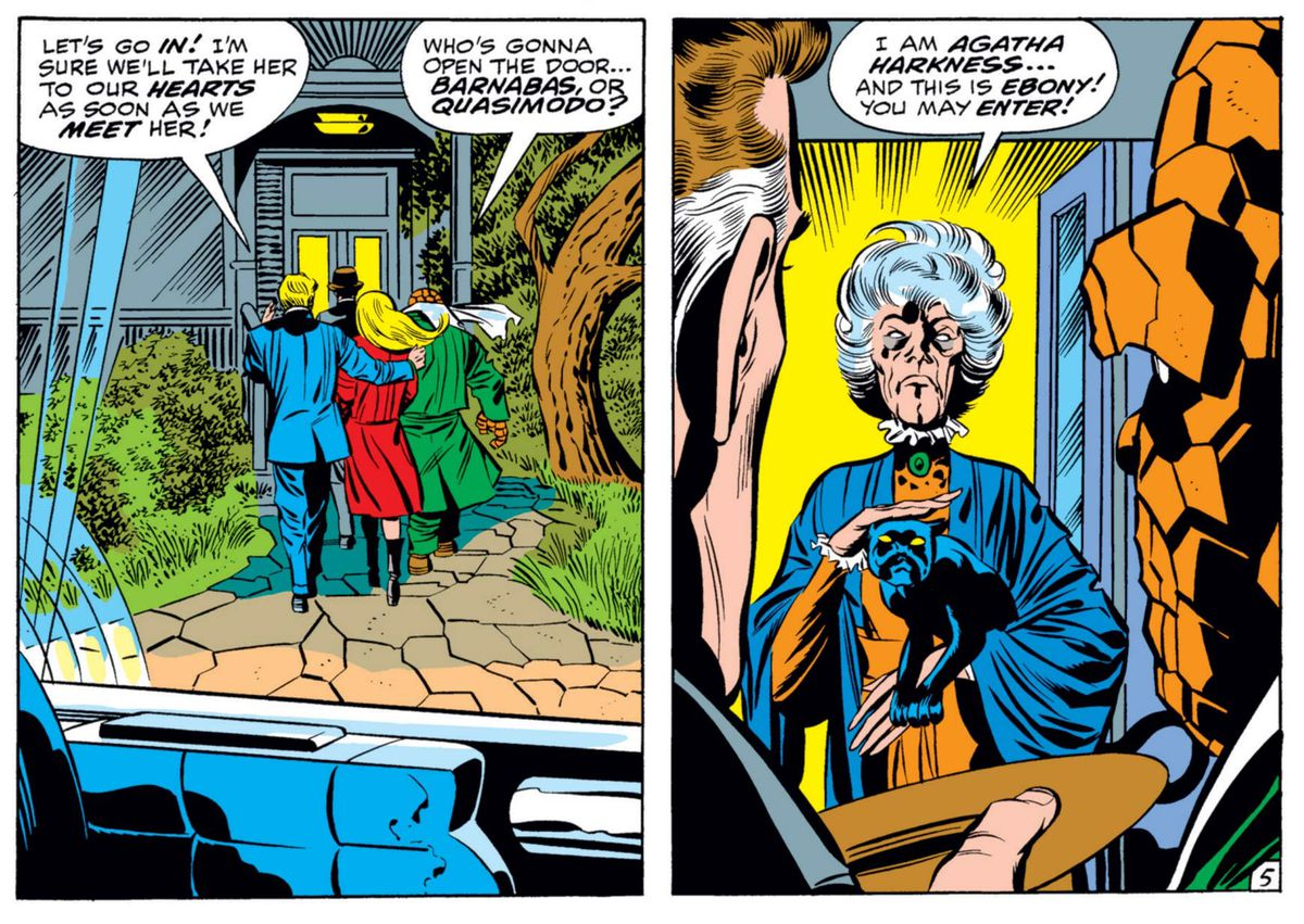 The Fantastic Four and Agatha Harkness, an elderly lady with a shock of white hair, holding her black cat, Ebony, in Fantastic Four #94, Marvel Comics (1970).