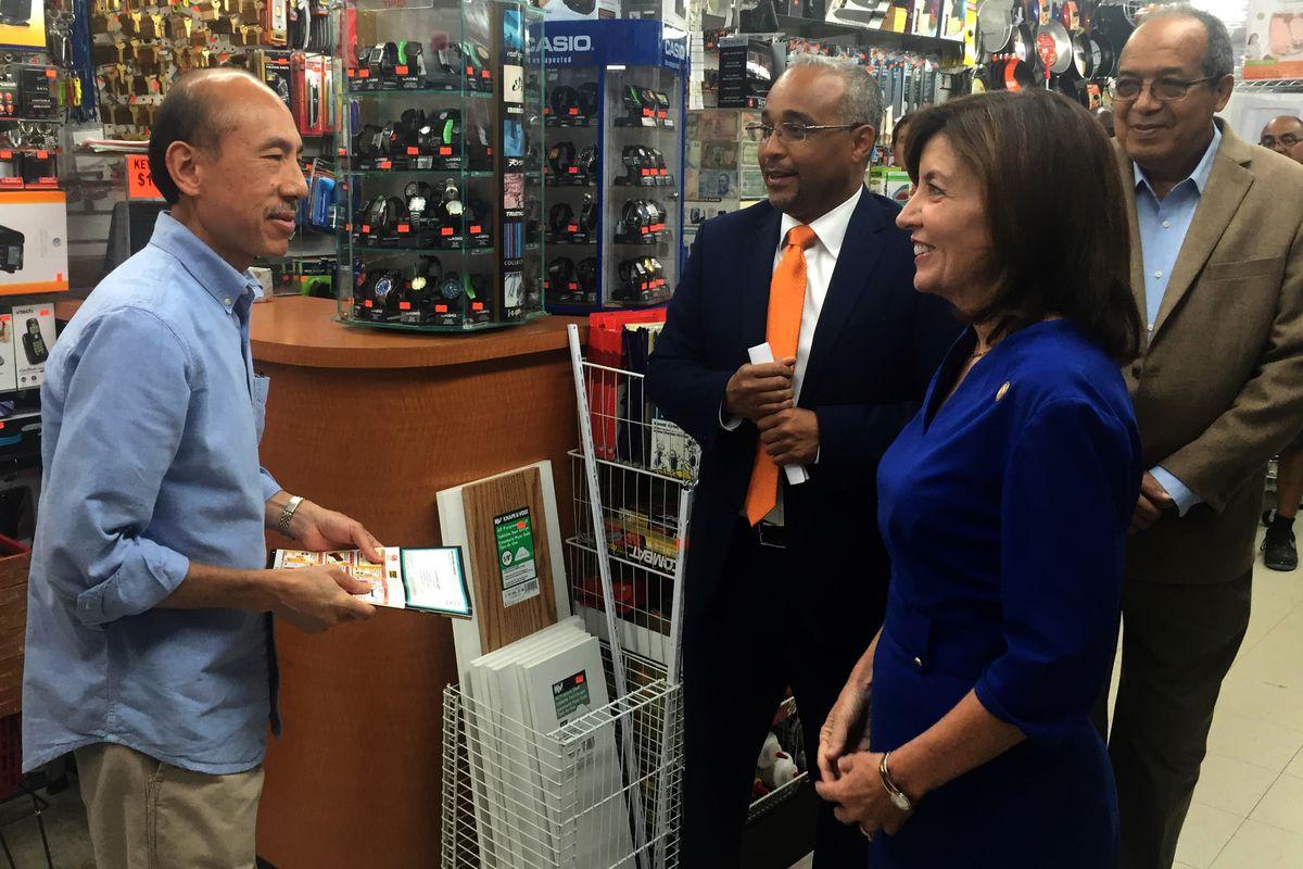 Lt. Gov. Kathy Hochul visits a Queens shop.