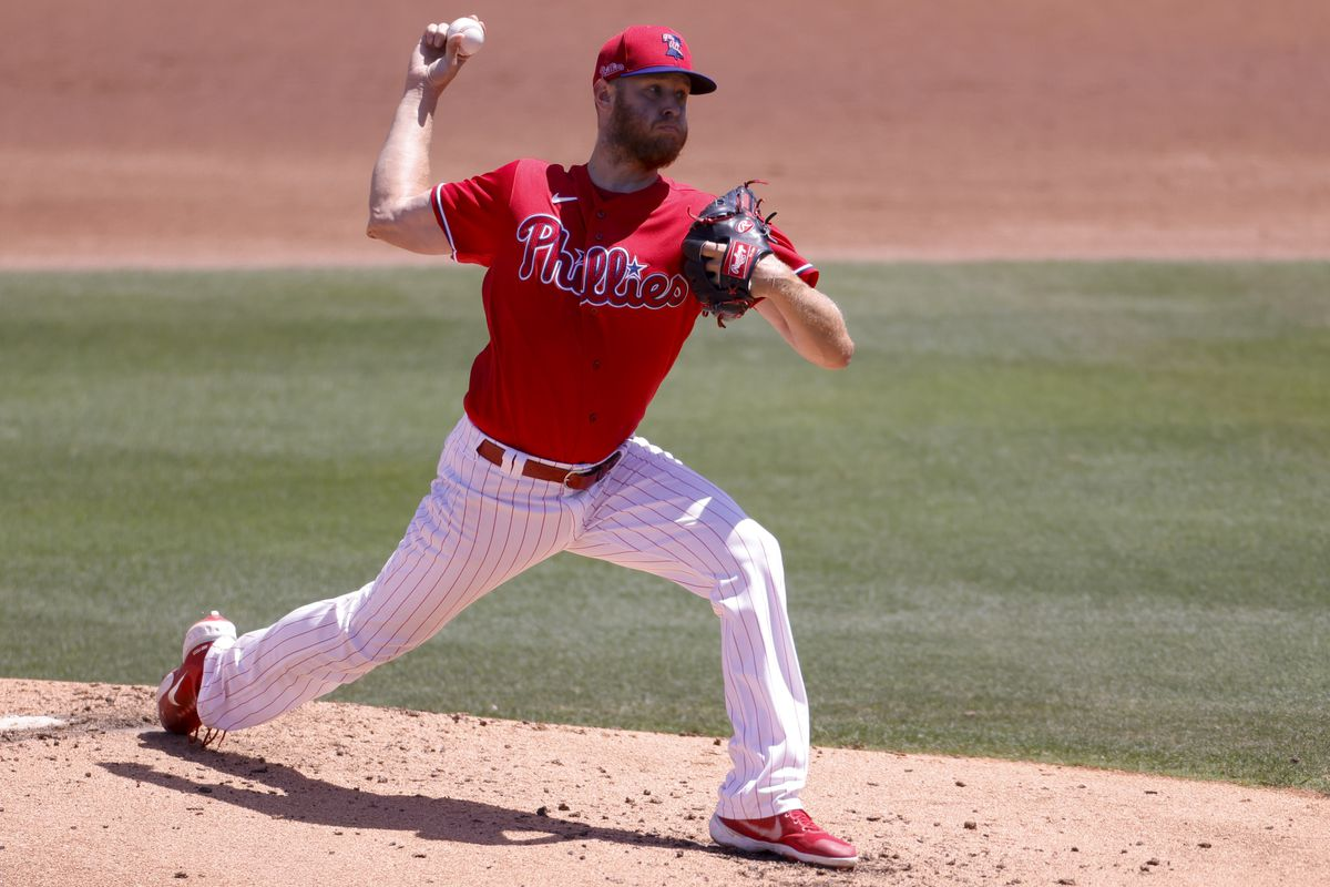 Zack Wheeler #45 of the Philadelphia Phillies throws a pitch during the second inning against the New York Yankees during a spring training game at BayCare Ballpark on March 28, 2021 in Clearwater, Florida.