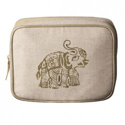 Square Organizer in Natural Linen with Gold Elephant $16.99