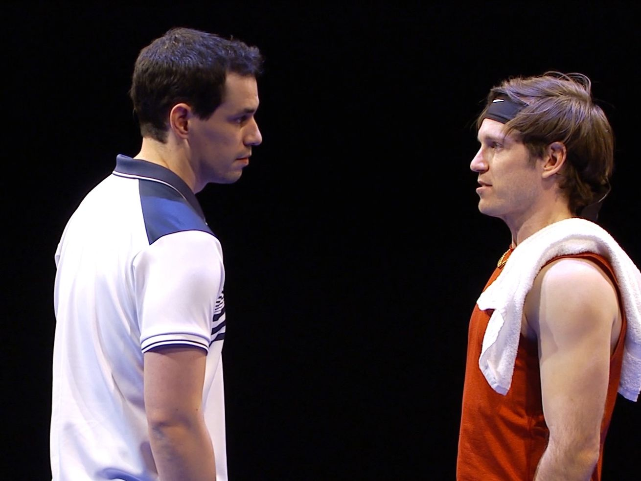 Ryan Hallahan (left) and Christopher Sheard star as tennis rivals in Writers Theatre's production of 'The Last Match.""
