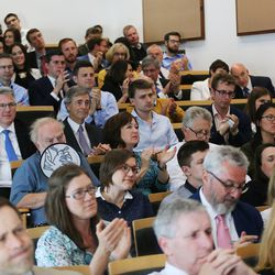 The audience applauds after Elder D. Todd Christofferson, of the Quorum of the Twelve Apostles of The Church of Jesus Christ of Latter-day Saints, spoke at Christ Church, Oxford University, in Oxford, England, on Thursday, June 15, 2017.