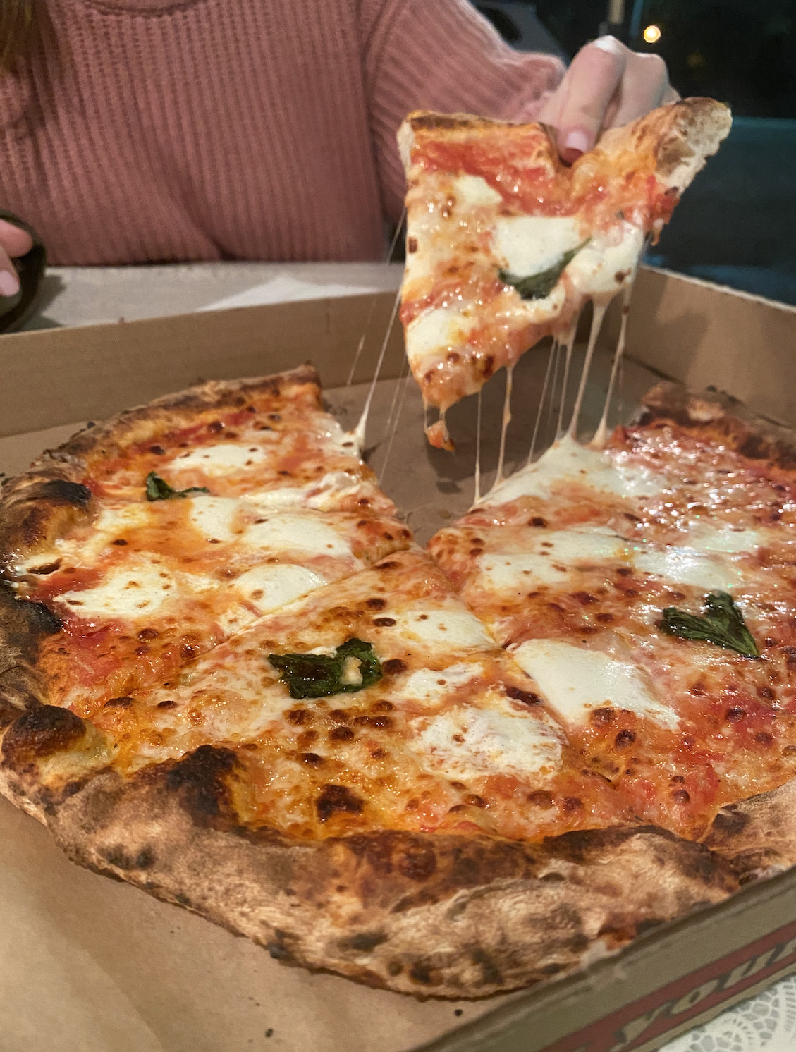 Elio's wood-fired pizza in Echo Park in a cardboard box.