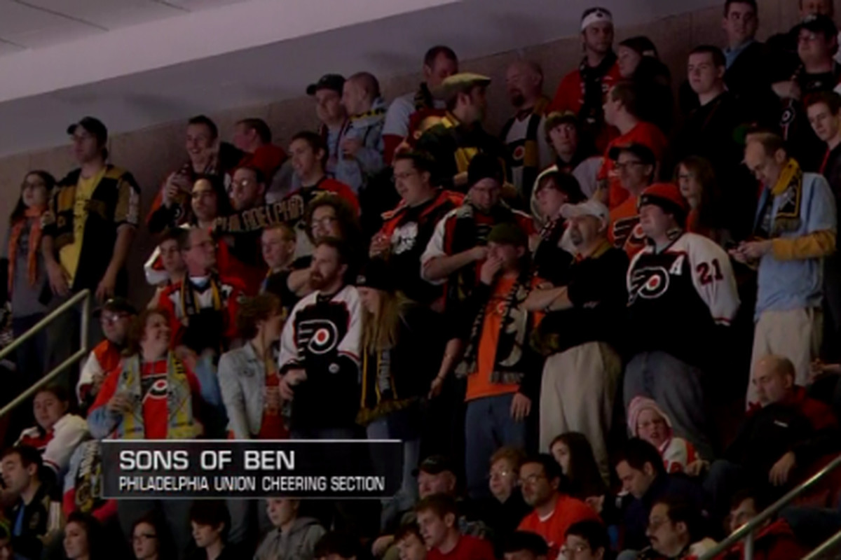 """The Sons of Ben at the Flyers game, in section 217 of the Wells Fargo Center. (Courtesy of <a href=""""http://twitter.com/#!/mattp700level"""" target=""""new"""">Matt P</a> of <a href=""""http://www.the700level.com"""" target=""""new"""">The 700 Level</a>)"""