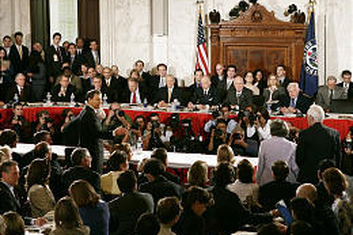 Supreme Court nominee John G. Roberts Jr., standing at left, introduces members of his family at his confirmation hearing.