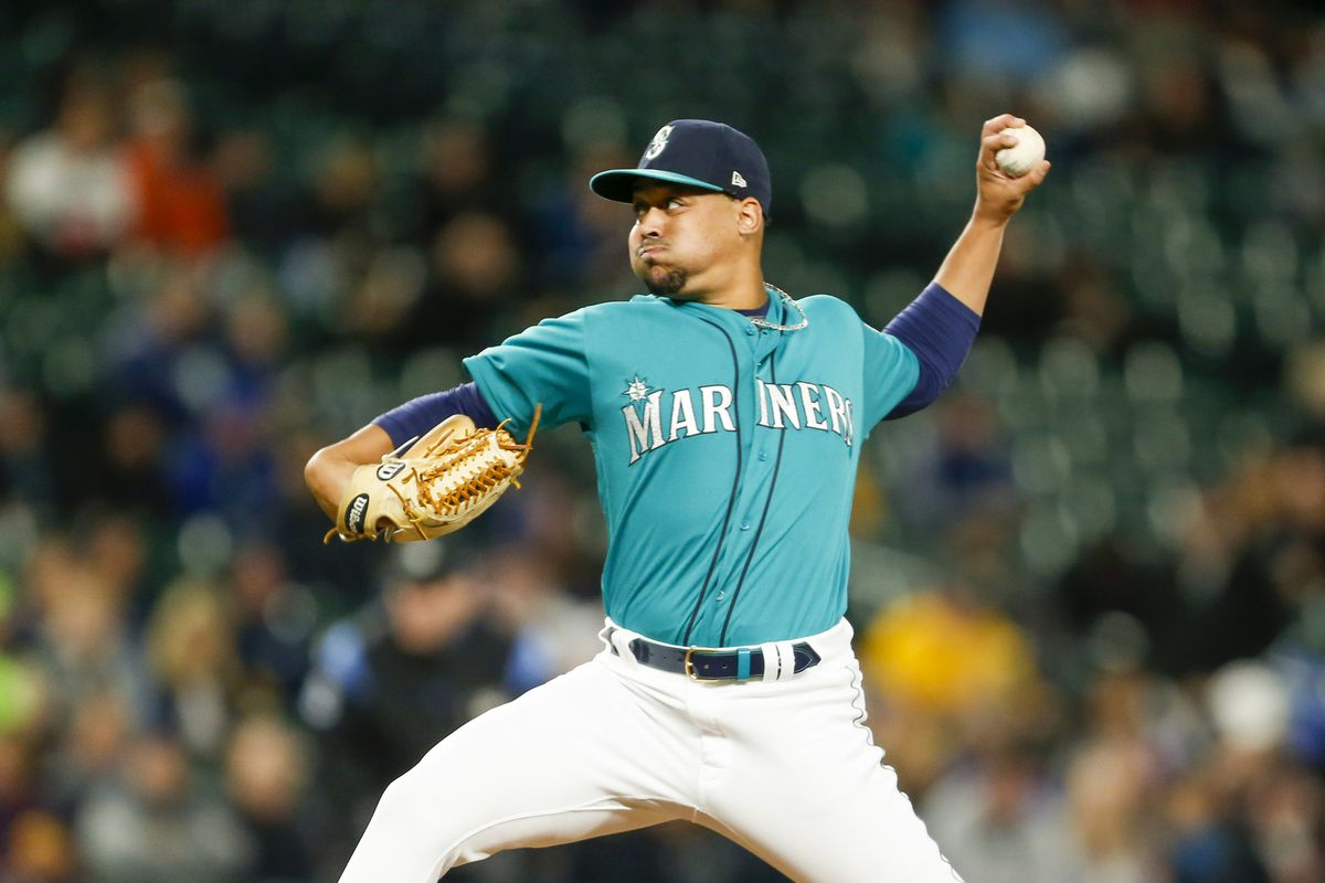 Seattle Mariners starting pitcher Justus Sheffield throws against the Oakland Athletics during the third inning at T-Mobile Park.