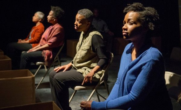 """Linda Bright Clay (from left), Joslyn Jones, Penelope Walker and Eunice Woods in the American Theater Company debut of """"The Project(s)."""" Photo by Michael Brosilow"""
