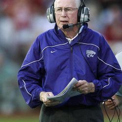 Kansas State coach Bill Snyder walks along the sidelines in the first quarter of an NCAA college football game against Oklahoma in Norman, Okla., Saturday, Sept. 22, 2012.