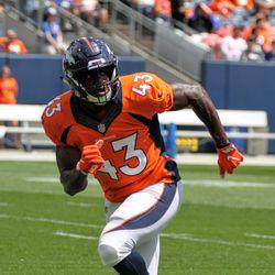 Broncos ILB Joe Jones makes moves during drills.
