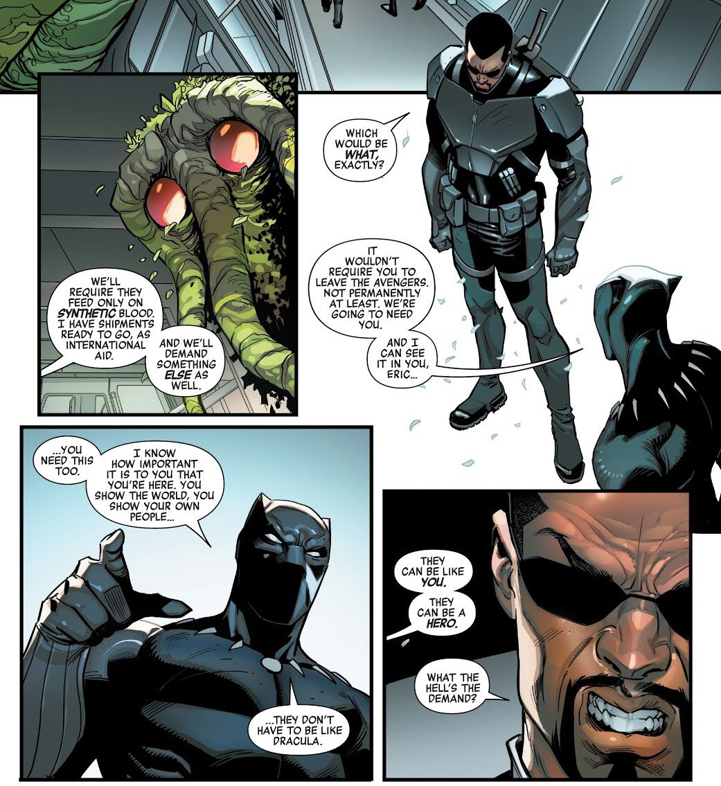 """Black Panther offers Blade an opportunity to show his """"own people they don't have to be like Dracula,"""" to convince the vampire hunter not to leave the Avengers, as Boy-Thing looks on, in The Avengers #25, Marvel Comics (2021)."""