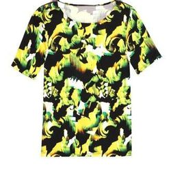 "<a href=""http://www.icbnyc.com/shop/chartreuse--brush-stroke-print-jersey-t-shirt"">Brush stroke print jersey t-shirt</a>, $29 (was $145)"