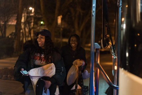 University of Chicago law student Subria Whitaker and her mother, Elizabeth, board a bus outside Operation Push headquarters heading down to Memphis. | Max Herman/For the Sun-Times