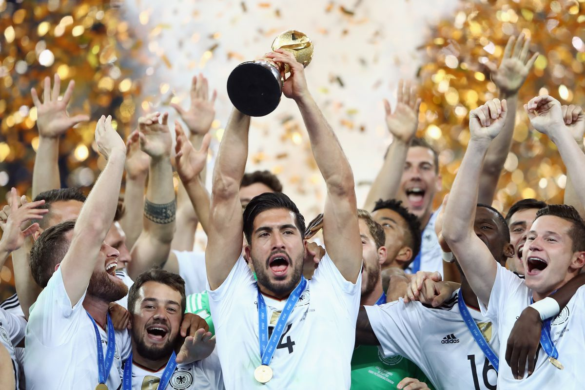 Chile v Germany: Final - FIFA Confederations Cup Russia 2017 SAINT PETERSBURG, RUSSIA - JULY 02: Emre Can of Germany lifts the FIFA Confederations Cup trophy after the FIFA Confederations Cup Russia 2017 final between Chile and Germany at Saint Petersburg Stadium on July 2, 2017 in Saint Petersburg, Russia.