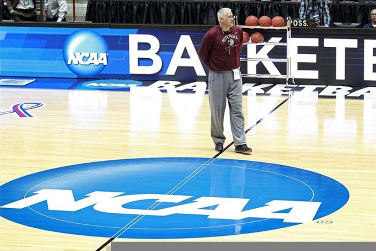 Mar 14, 2012; Albuquerque, NM, USA; Montana Grizzlies head coach Wayne Tinkle during practice for the second round of the 2012 NCAA men's basketball tournament at the Pit.  Mandatory Credit: Nelson Chenault-US PRESSWIRE