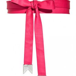 Meredith Wendell Pink Leather Bow Wrap Belt, $250
