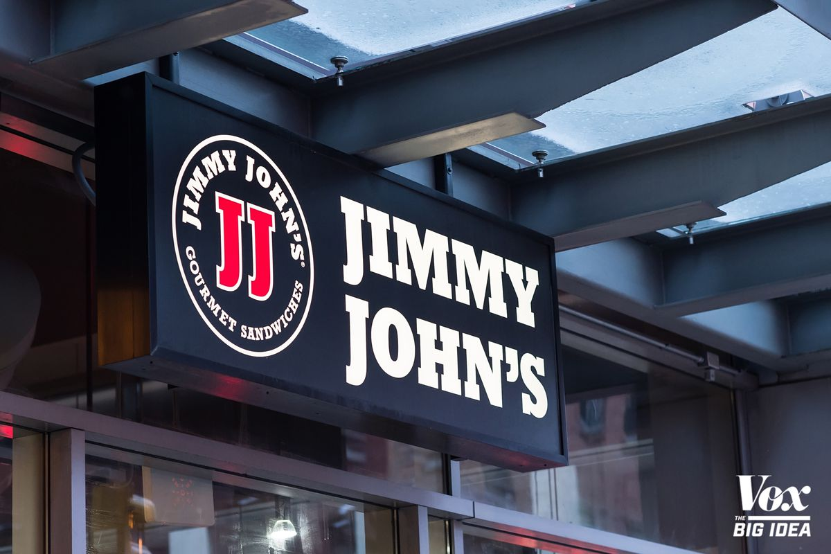 Photograph of a Jimmy John's sandwich-shop sign -- a company that, until recently, made employees sign rigorous non-compete agreements.