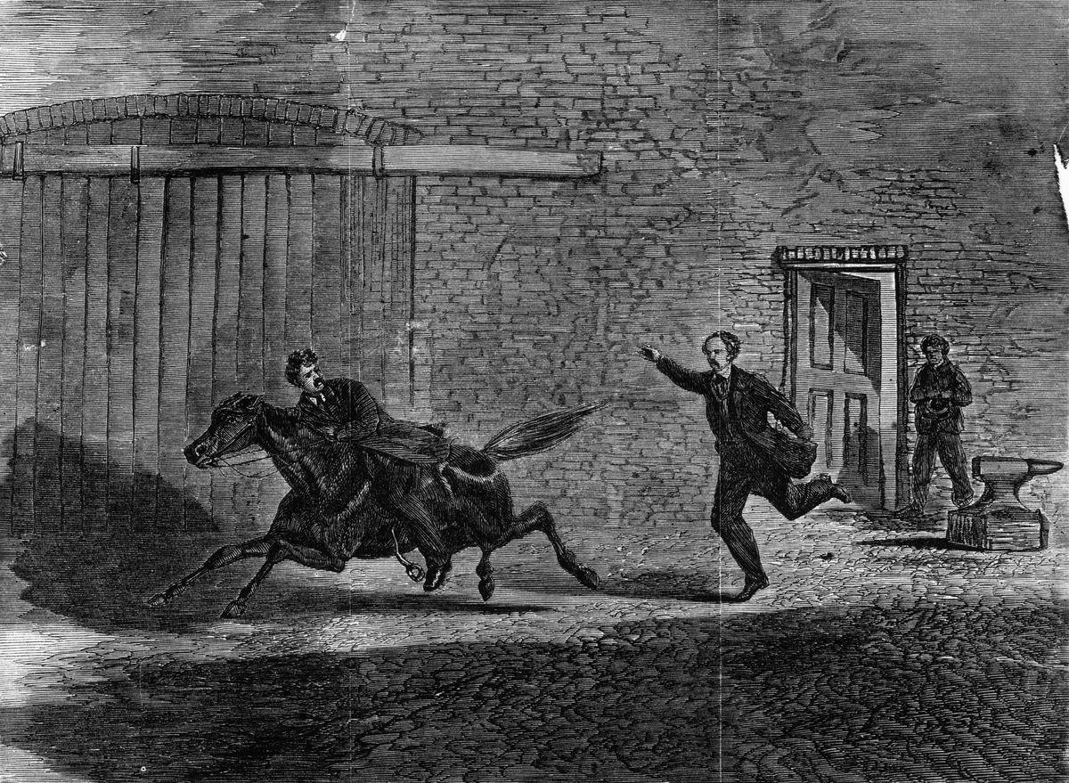 An illustration of Booth fleeing the theatre. (MPI/Getty Images)