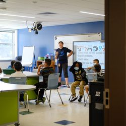 A teacher conducts a lesson during a STEM class. Many of the school's additions are intended to enhance their STEM and art programs.
