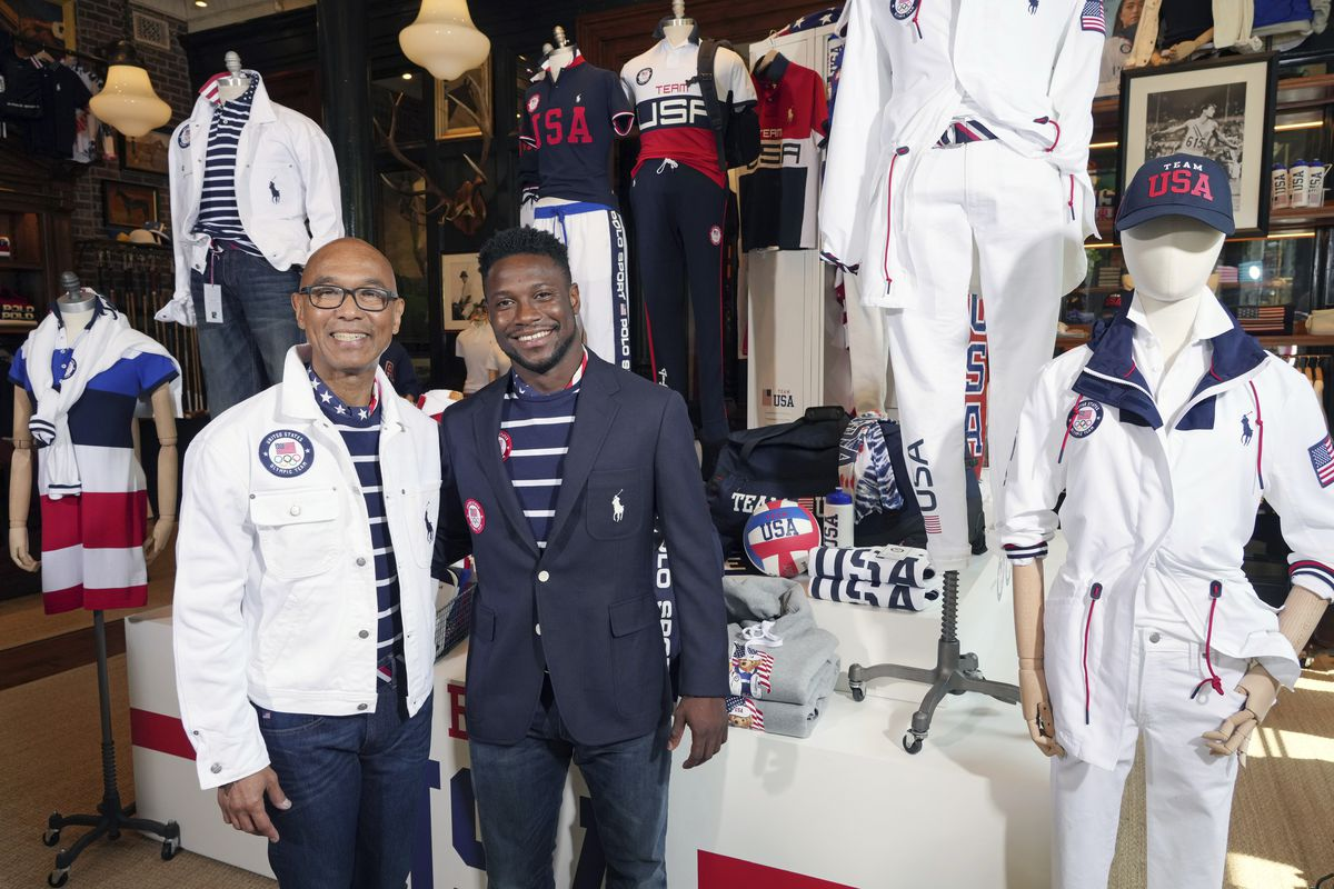 Olympians Peter Westbrook, left, and Daryl Homer model the Team USA Tokyo Olympic opening ceremony uniforms at the Ralph Lauren SoHo store.