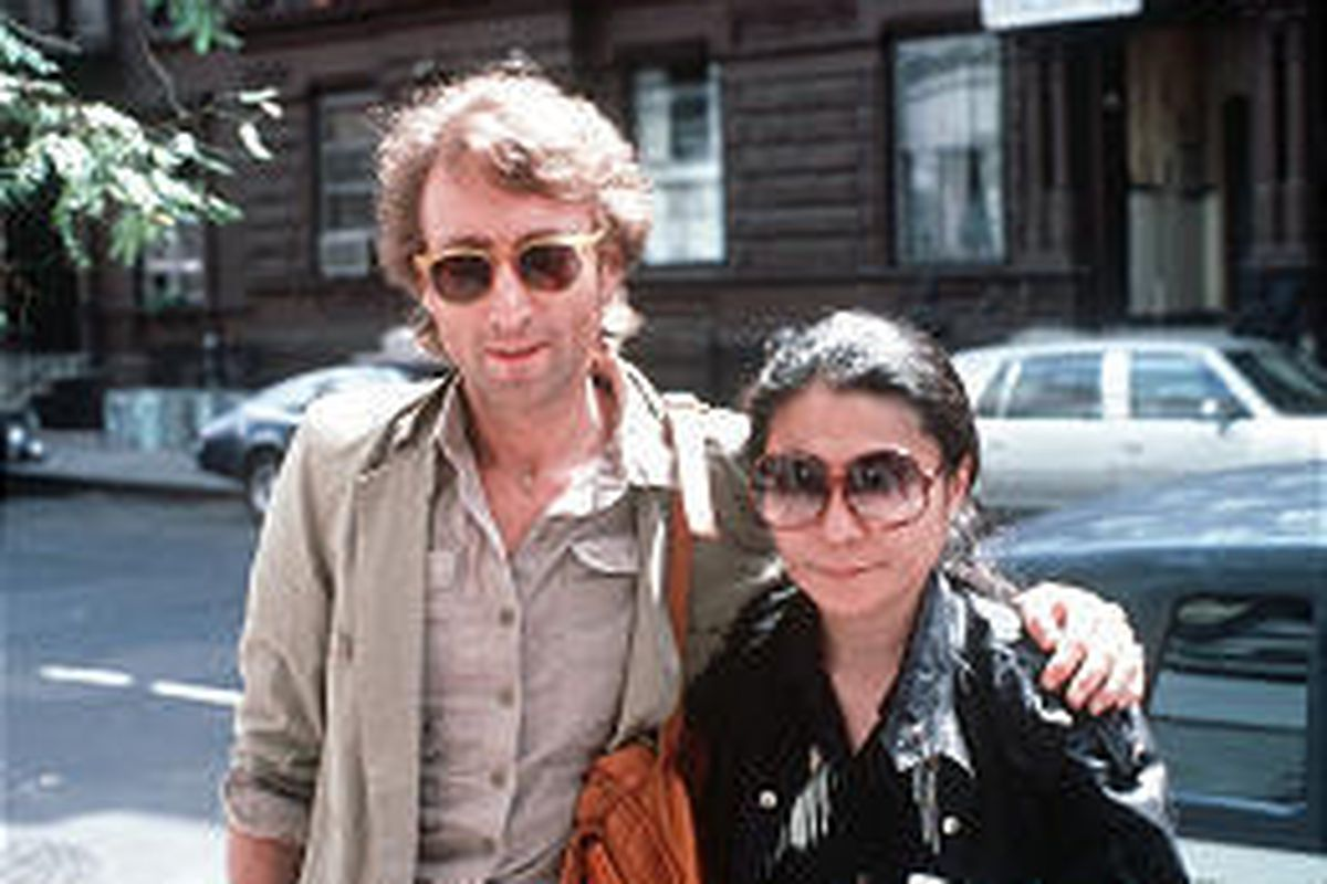 John Lennon and wife, Yoko Ono, arrive at a recording studio in New York, Aug. 22, 1980, just three months before he was slain.