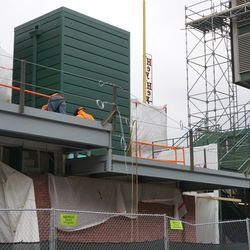 The new addition between the bleachers and the right field grandstand