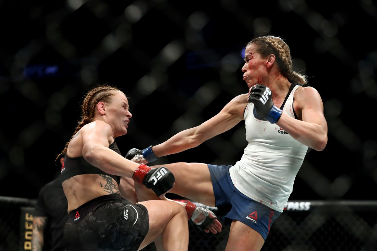 Valentina Shevchenko and Katlyn Chookagian in their Women's Flyweight Championship bout during UFC 247 at Toyota Center on February 08, 2020 in Houston, Texas.