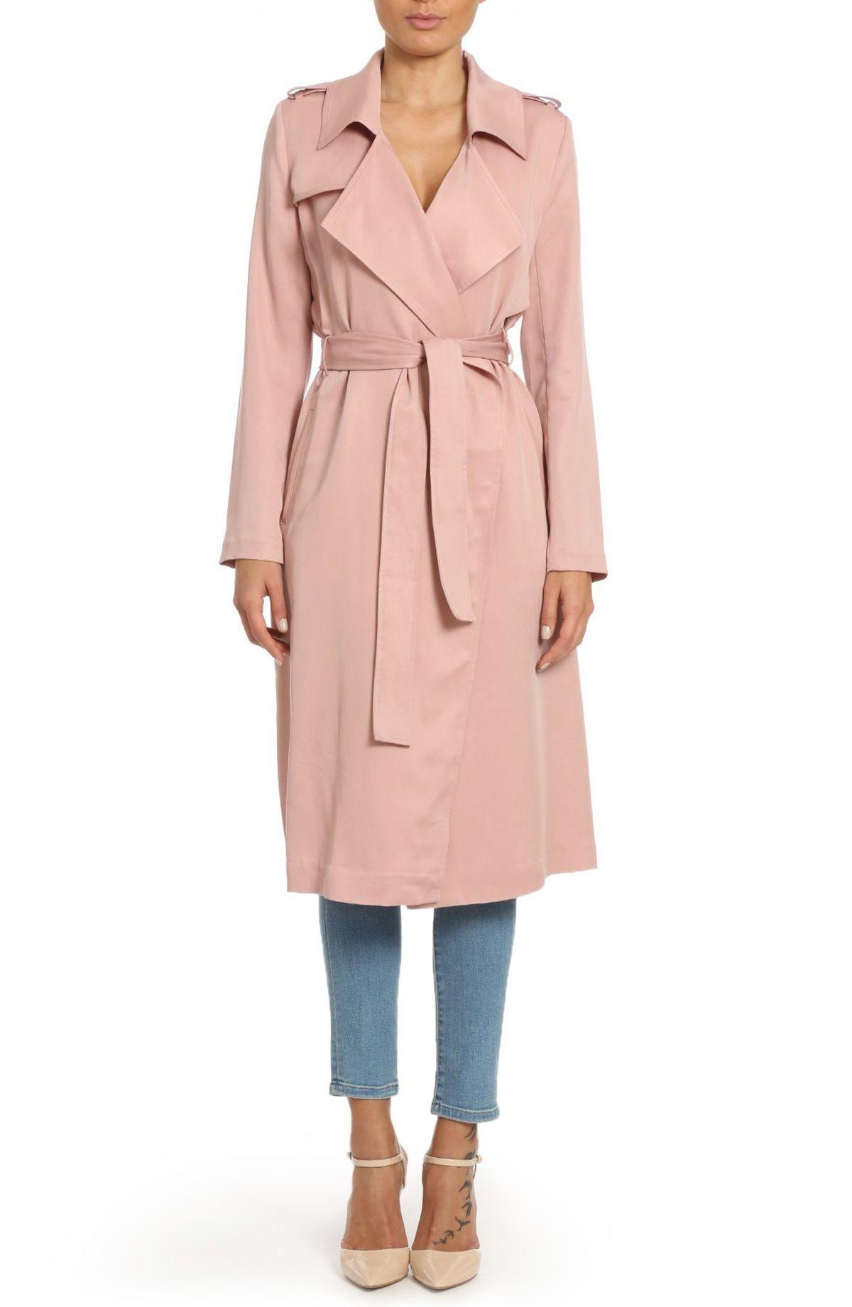 Badgley Mischka pink trench coat