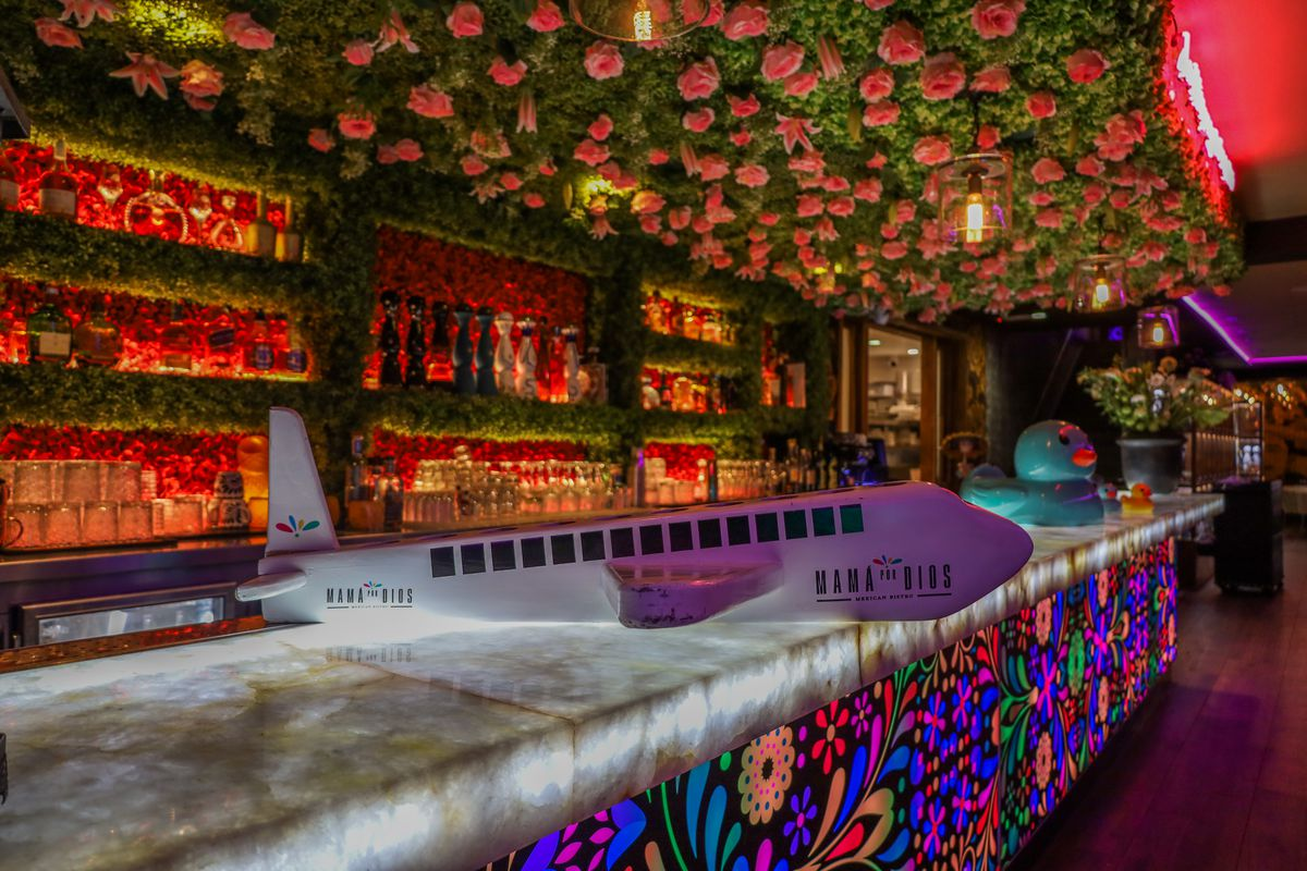 A toy airplane sits on an illuminated bar with a canopy of with fake flowers overhead.