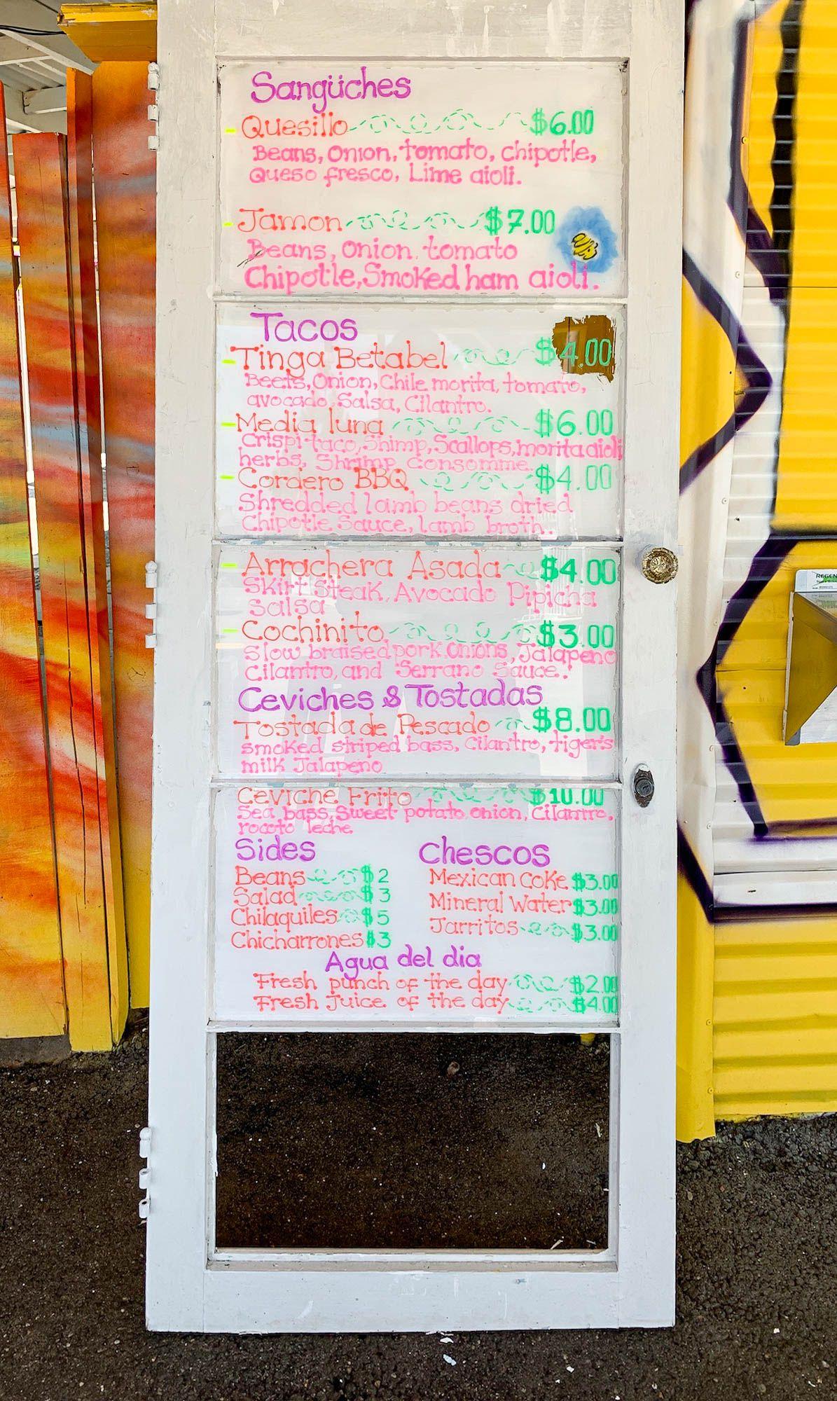 bee taqueria menu board sign
