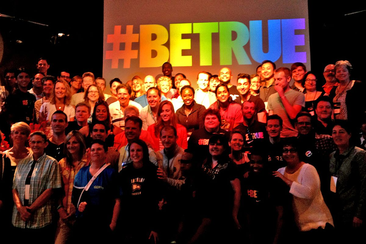 LGBT Sports Summit attendees join Jason Collins on stage at Nike. #BeTrue