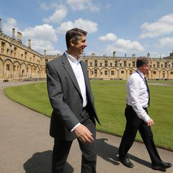 Utah Valley University President Matthew Holland, left, takes a tour of Christ Church from Philip Tootill while on a sabbatical at Pembroke College, Oxford University, England, on June 14, 2017.
