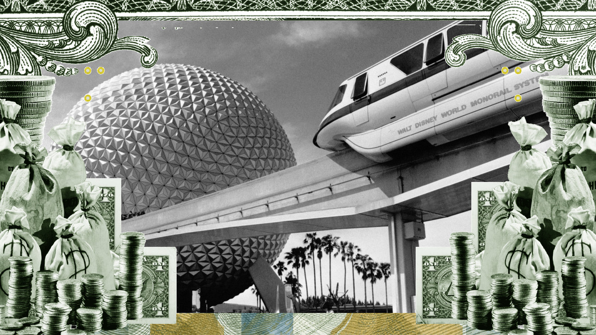 Photo illustration of the monorail and giant orb at Disney World's Epcot Center, surrounded by a frame of cash.