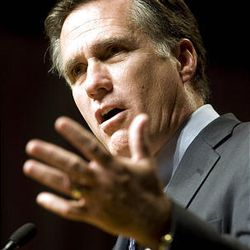 """Mitt Romney gives a speech as part of his """"No Apology"""" book tour, sponsored by Hinckley Institute at the Salt Palace in Salt Lake City Saturday."""
