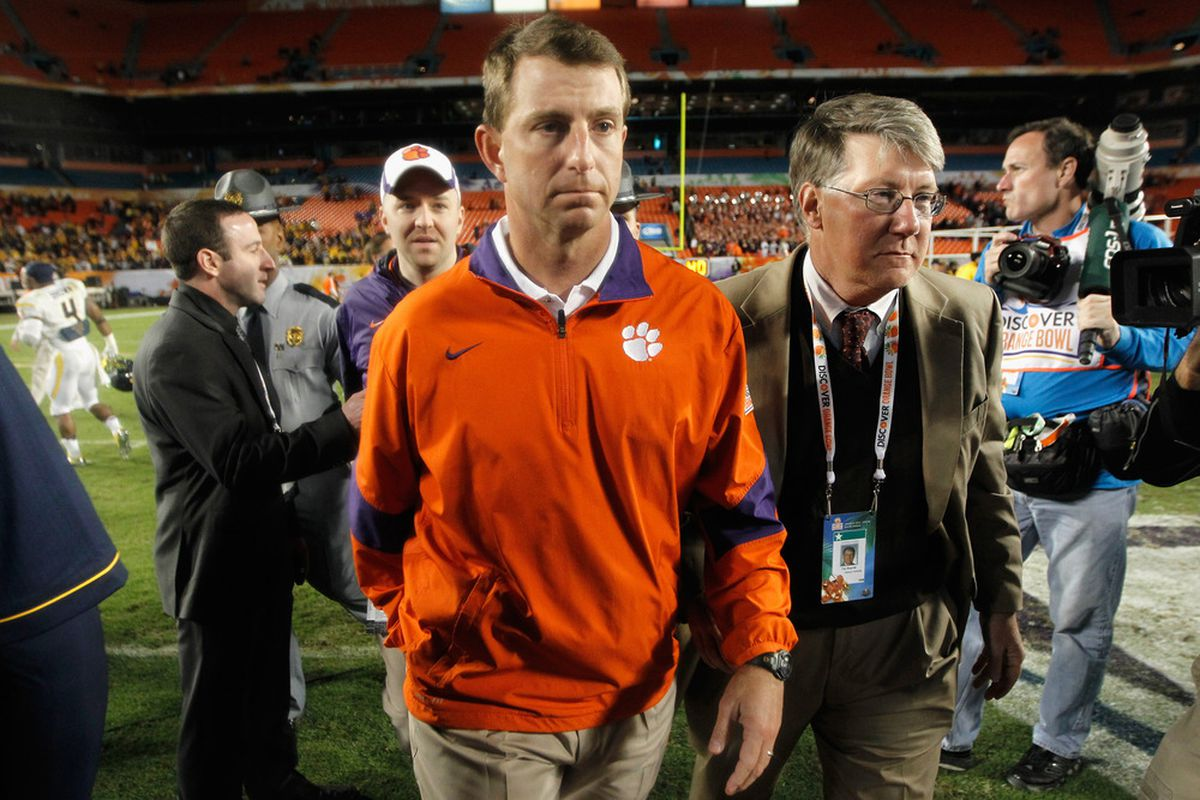 Dabo Swinney:  <em>The </em>University in this state always has been and always will be Clemson and it's right here in Clemson, South Carolina.  I'm proud of who we are.  I know who we are at Clemson.  I know where we're going  (12.1.11)