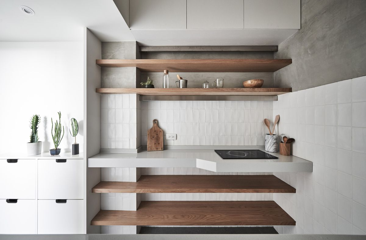 Kitchen with built-in shelving