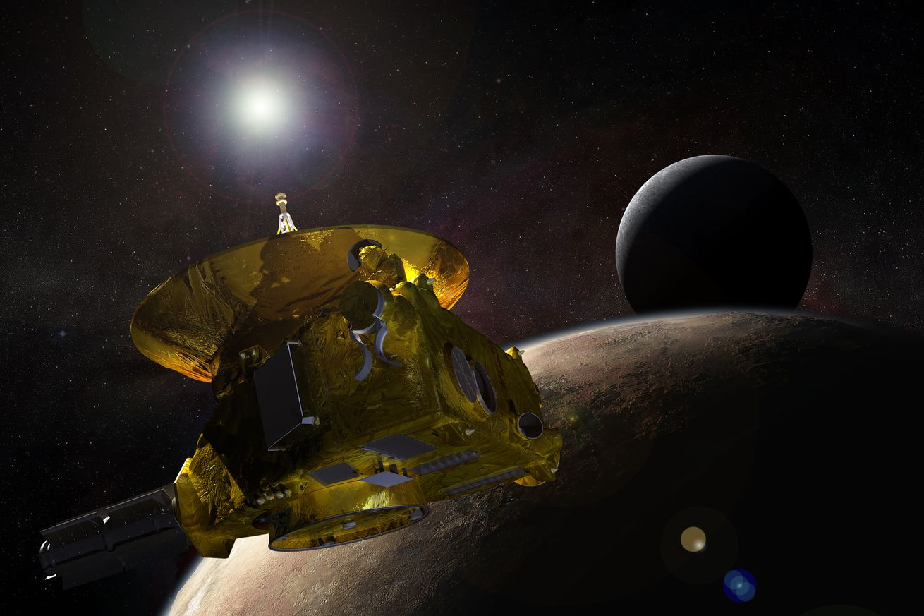 <em>An artistic rendering of NASA's New Horizons spacecraft</em>