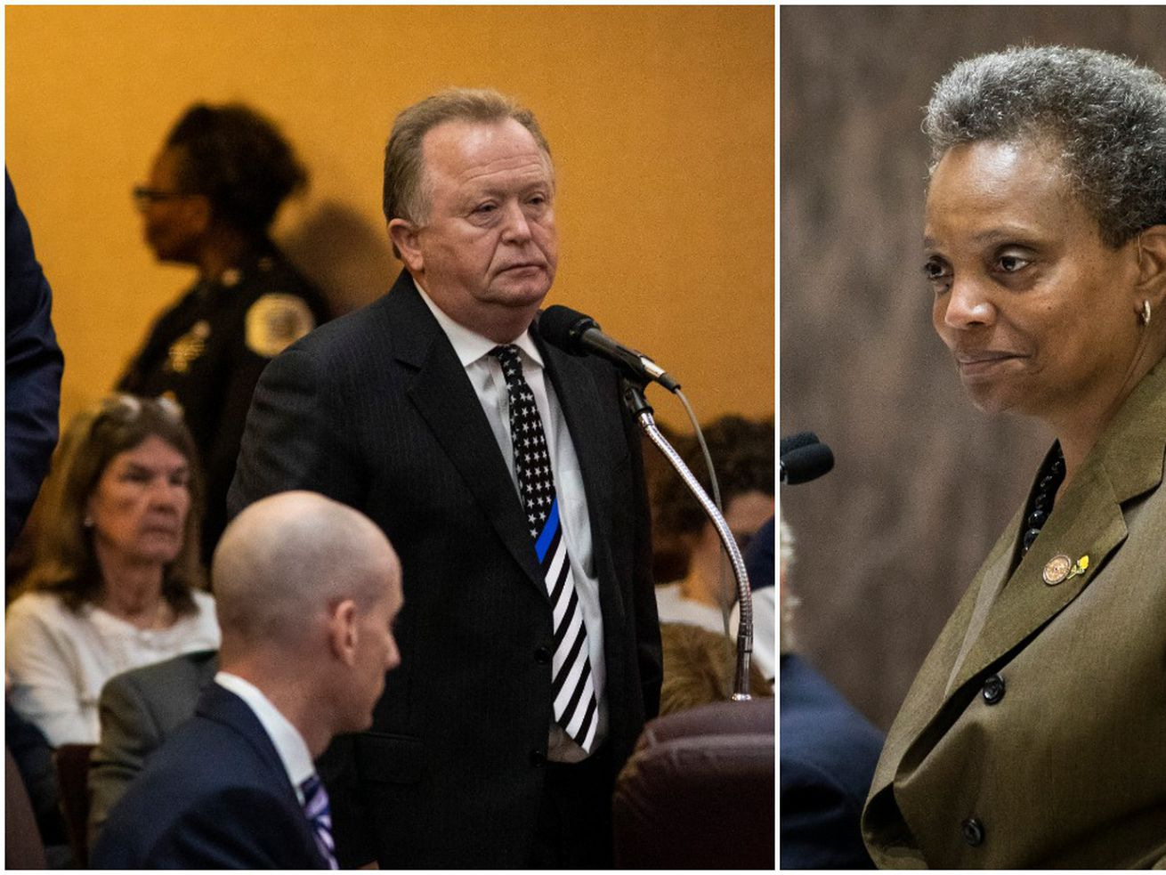 Fraternal Order of Police Vice President Patrick Murray (left) and Mayor Lori Lightfoot at a City Council Meeting.