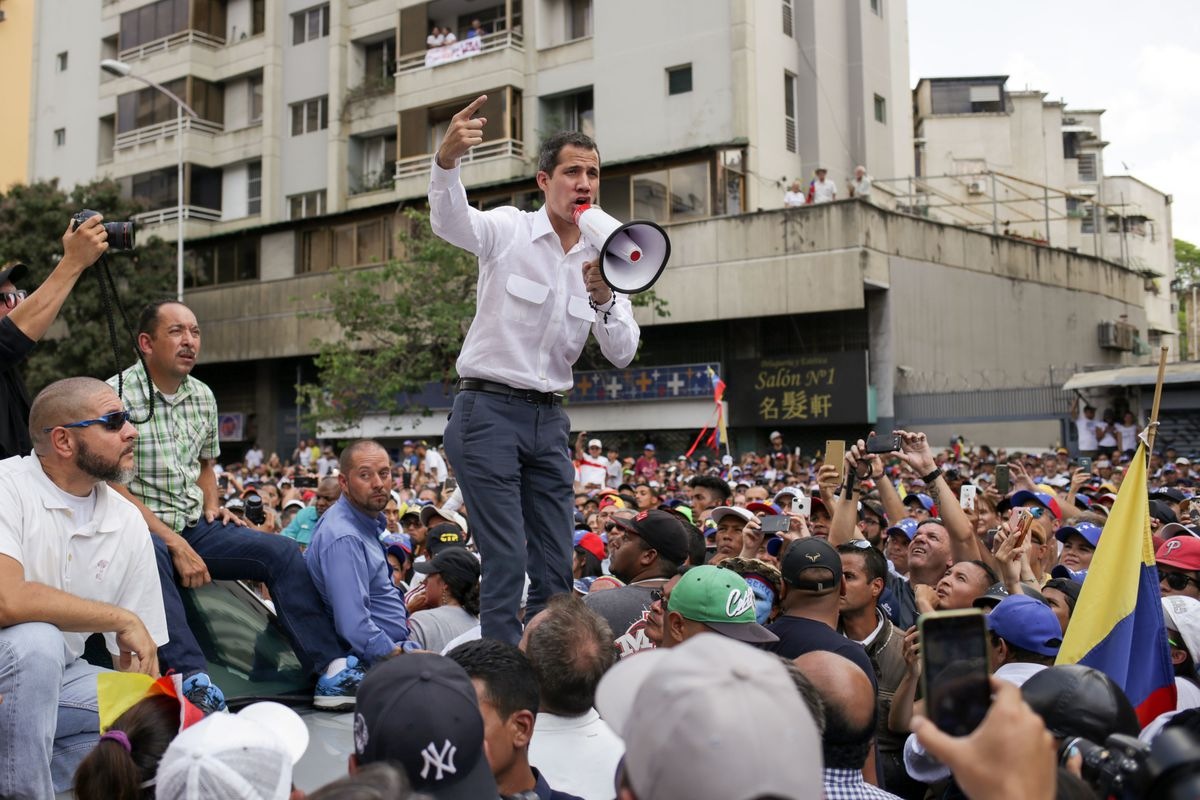 Venezuelan opposition leader and self-proclaimed acting president Juan Guaidó  speaks during a demo in Caracas on March 9, 2019.