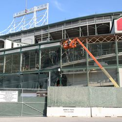 12:10 p.m. A wider view that shows which panels remain along the top of the ballpark -