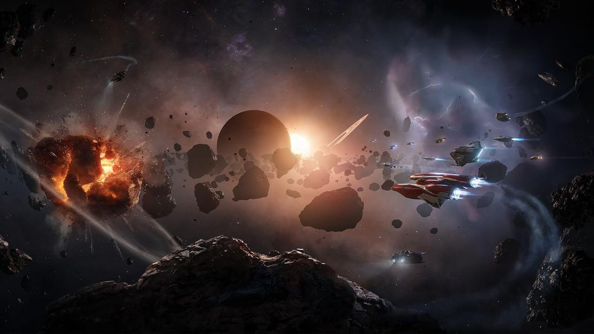 A collection of player ships that are backlit by a sunset and a purple mist.  On the left side of the frame, a giant rock explodes with a beam of fire.
