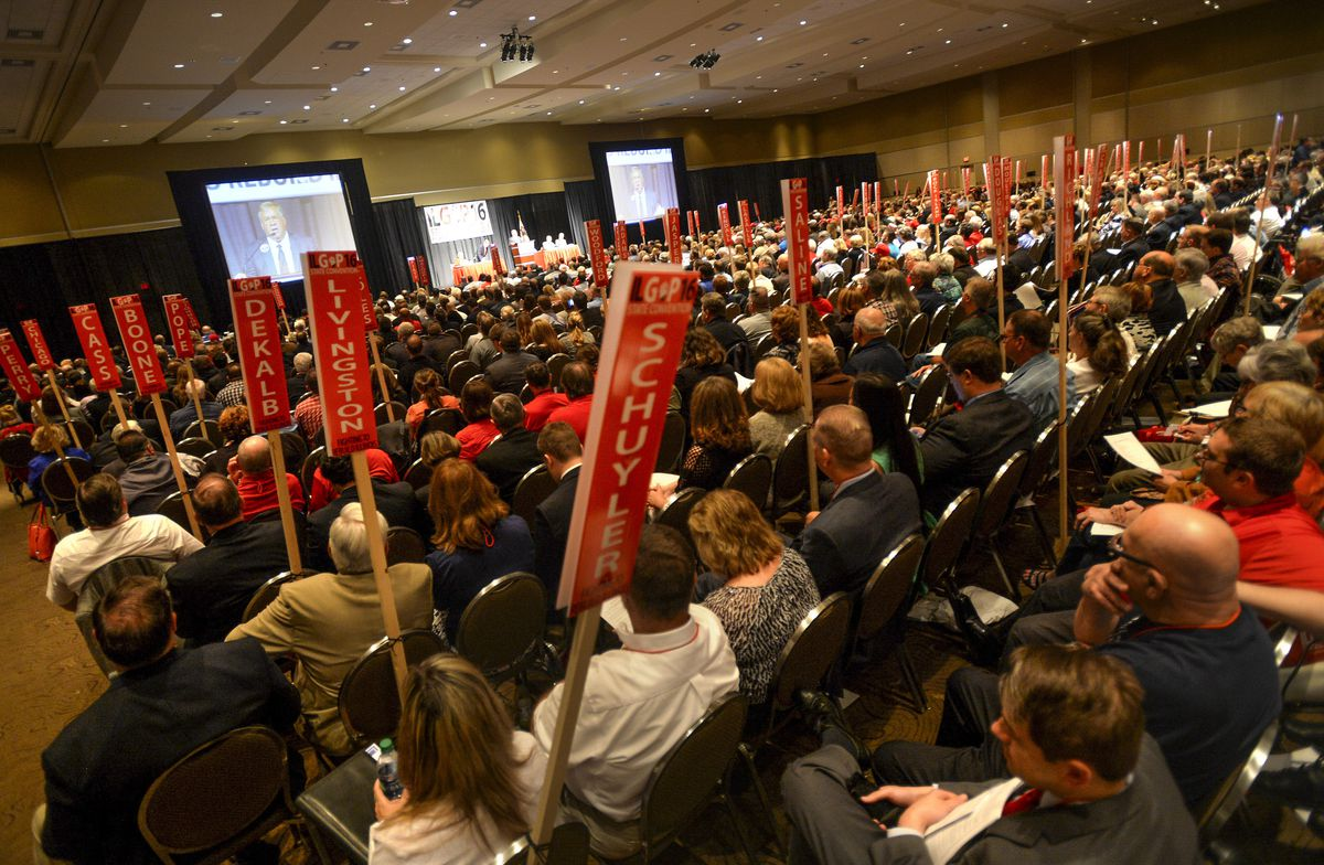 Delegates attend the Illinois GOP Convention at the Peoria Civic Center in Peoria Saturday. (Ron Johnson/Journal Star via AP)