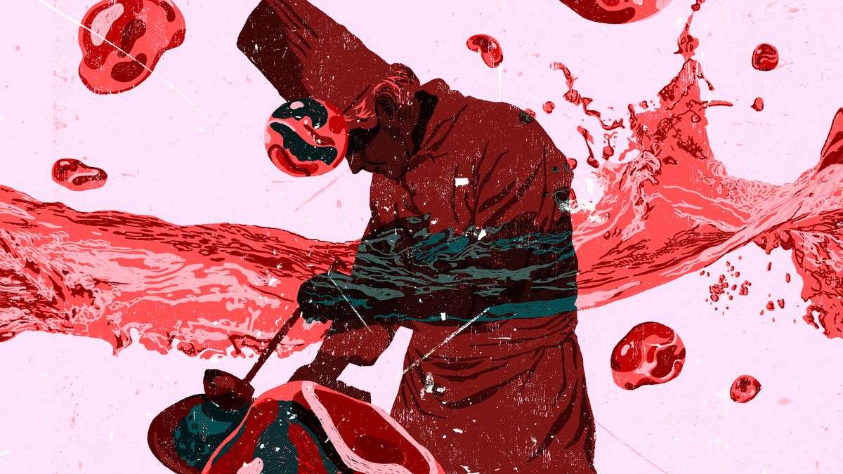 Blood washing over a chef leaning over a pot and stewing blood onto a dish.