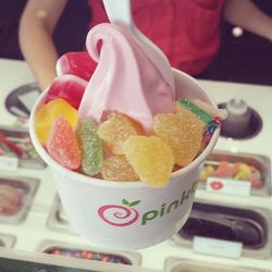 """<span class=""""credit"""">Pomegranate froyo with all three of Sugarpova x Pinkberry toppings.</span></br></br> <b>We had the same thing, it's so good! So, can you tell us more about your candy collection?</b></br> """"I have 15 [flavors in] Sugarpova. Three of"""
