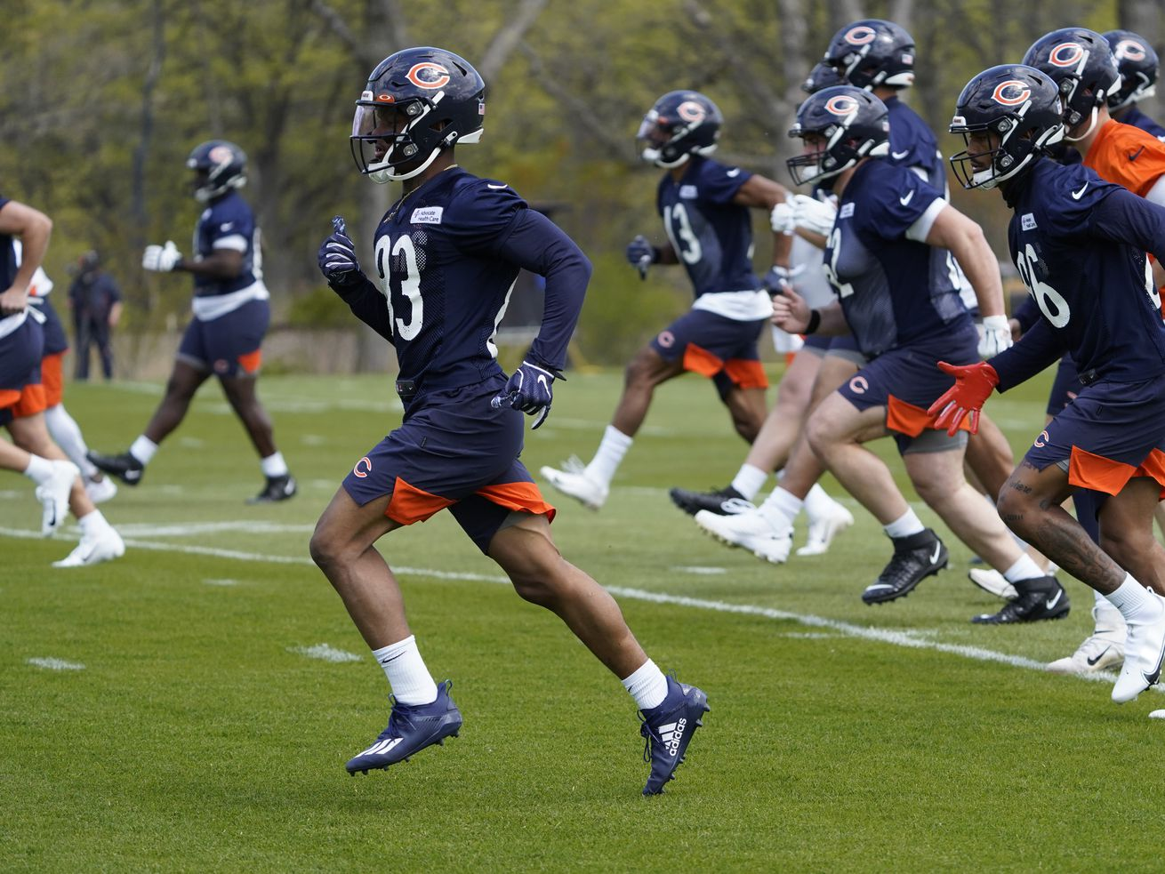 Bears wide receiver Dazz Newsome (83) works out during rookie minicamp last month.